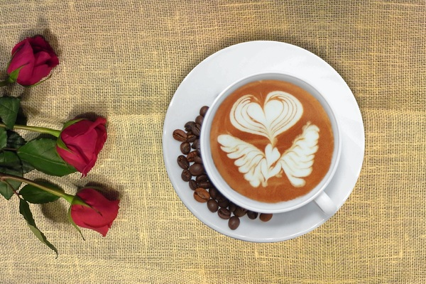 A beautiful cup of coffee latte Stock Photo