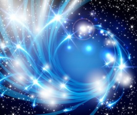 Abstract blue elements with star light background vector
