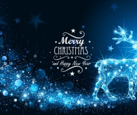 Abstract blue lights deer with christmas background vector