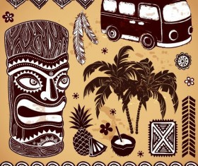Africa travel elements vintage vector 01