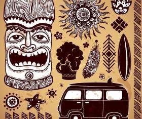 Africa travel elements vintage vector 02