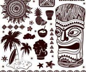 Africa travel elements vintage vector 03