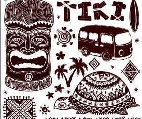 Africa travel elements vintage vector 04