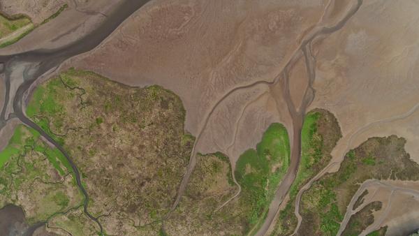 Alluvium soil delta from height Stock Photo