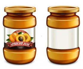 Apricot jam package jar vector