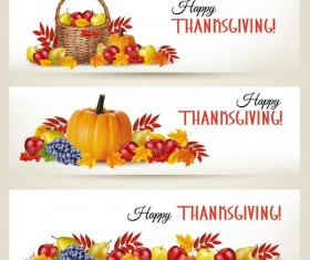 Autumn holiday banners vector set 02