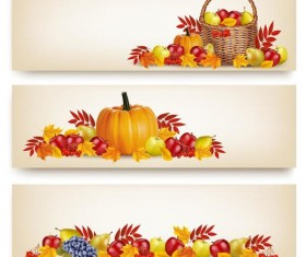 Autumn holiday banners vector set 03