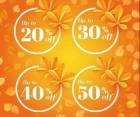 Autumn sale discount labels vector 01