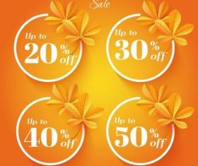Autumn sale discount labels vector 02
