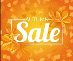 Autumn sale with leaves background vector 01