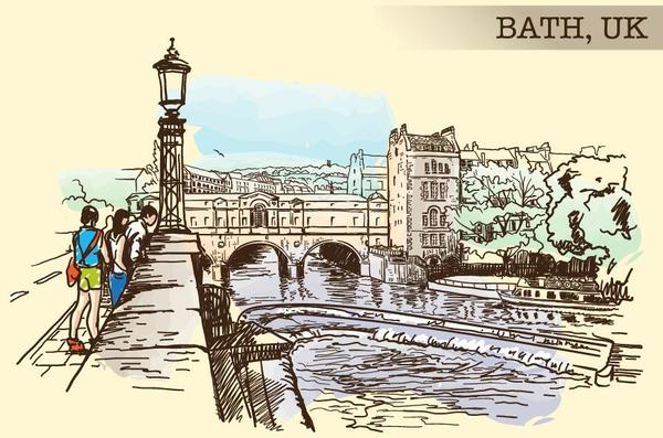 BATH UK painted sketch vector