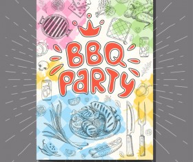 BBO Party flyer hand drawn template vectors 01