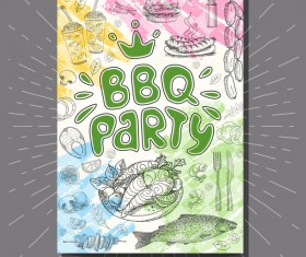 BBO Party flyer hand drawn template vectors 02