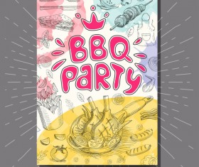 BBO Party flyer hand drawn template vectors 03