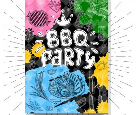 BBO Party flyer hand drawn template vectors 04