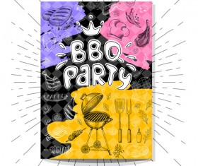 BBO Party flyer hand drawn template vectors 05