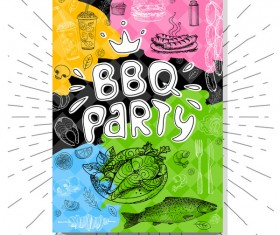 BBO Party flyer hand drawn template vectors 06