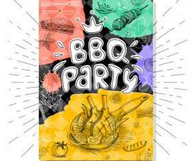 BBO Party flyer hand drawn template vectors 07