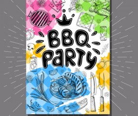 BBO Party flyer hand drawn template vectors 08