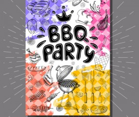 BBO Party flyer hand drawn template vectors 09