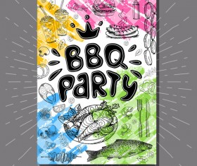 BBO Party flyer hand drawn template vectors 10