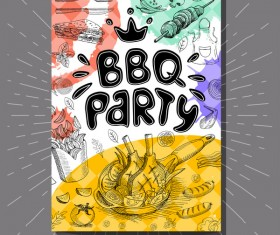 BBO Party flyer hand drawn template vectors 11