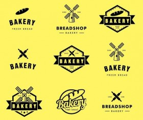 Bakey labels with logos vectors