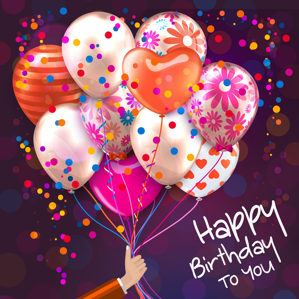 Balloon with colored birthday background vector