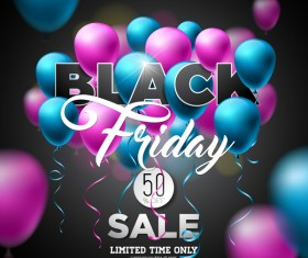 Balloons with black friday sale background vector 01