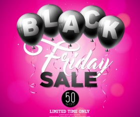 Balloons with black friday sale background vector 02