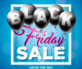 Balloons with black friday sale background vector 03