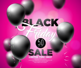Balloons with black friday sale background vector 04