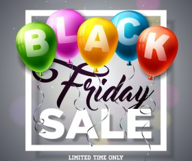 Balloons with black friday sale background vector 05