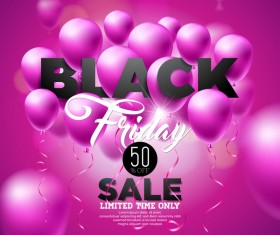 Balloons with black friday sale background vector 06