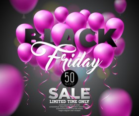 Balloons with black friday sale background vector 07