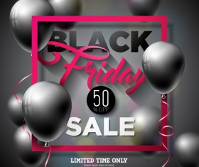 Balloons with black friday sale background vector 08