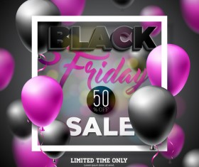 Balloons with black friday sale background vector 09