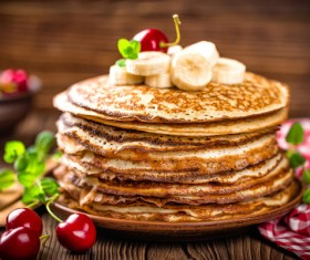 Banana cherry homemade pancakes Stock Photo