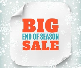 Big sale poster with christmas snow background vector