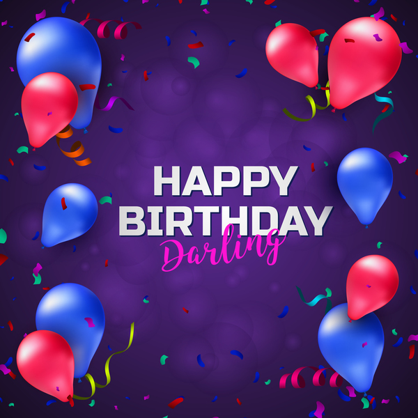Birthday Background With Balloons And Confetti Vector 01