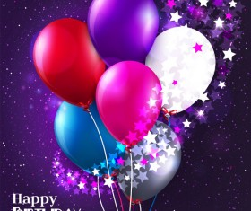 Birthday balloons with stars vector material