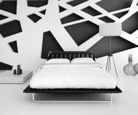 Black and white collocation of the bedroom Stock Photo