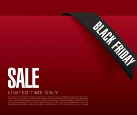 Black firday sale template red vector 01