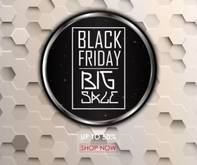 Black friday big sale background with white hexagon vector 01