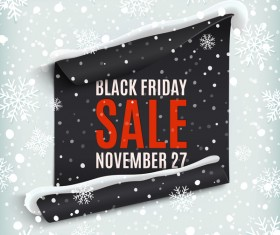 Black friday sale poster with snow background vector 01
