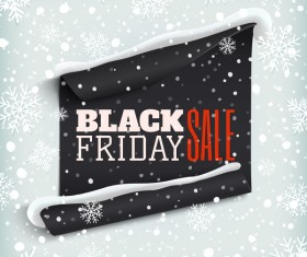 Black friday sale poster with snow background vector 02