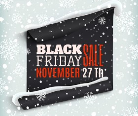 Black friday sale poster with snow background vector 03