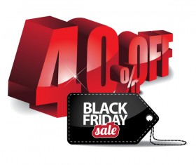 Black friday sale tag with discount vector 04