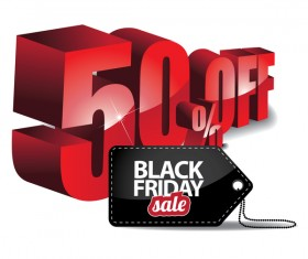 Black friday sale tag with discount vector 05