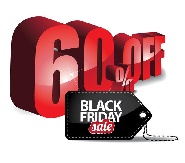 Black friday sale tag with discount vector 06
